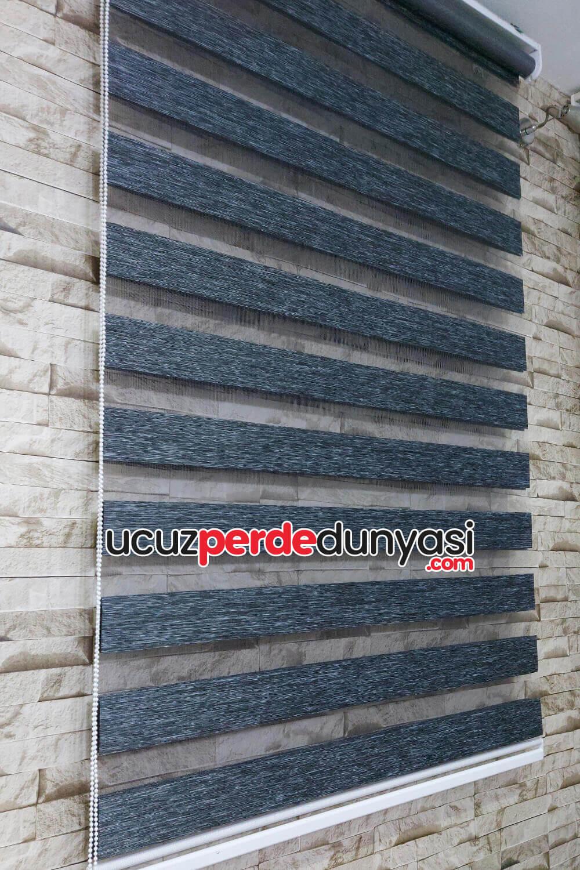 Füme Gri Kırçıllı Bambu Zebra Perde