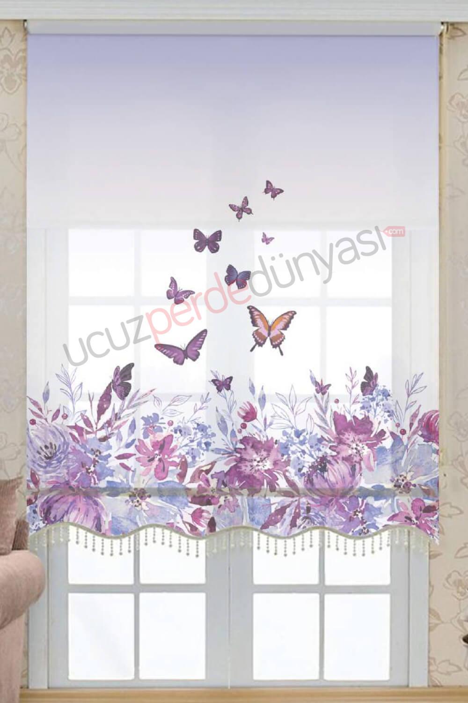 Kelebek ve Çiçek Desenli Çiftli Mekanizmalı Stor Perde