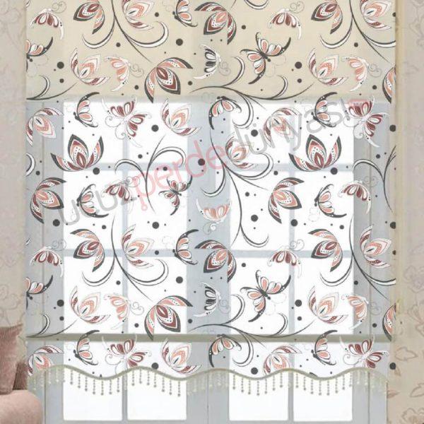 Klasik Lale Desenli Çiftli Mekanizmalı Stor Perde