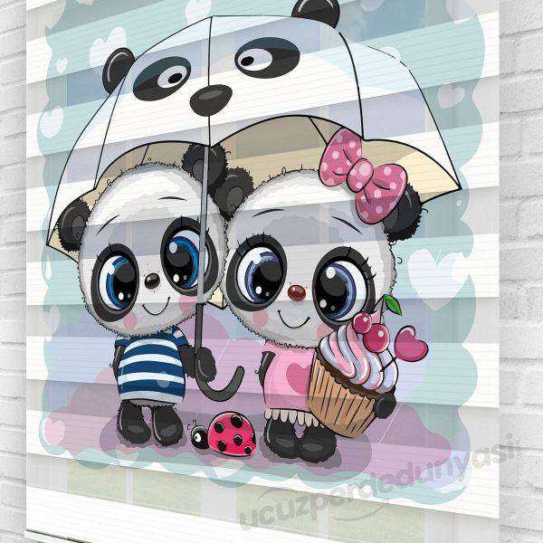 Yavru Panda Baskılı Çocuk Odası Zebra Perde