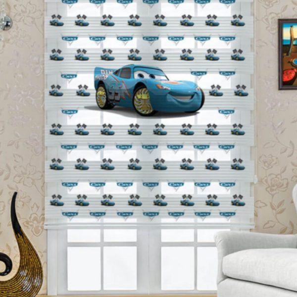 Mavi Şimşek Mcqueen Baskılı Çocuk Odası Zebra Perde