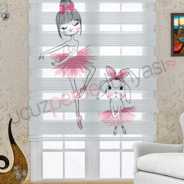 Balet ve Tavşan Baskılı Çocuk Stor Zebra Perde
