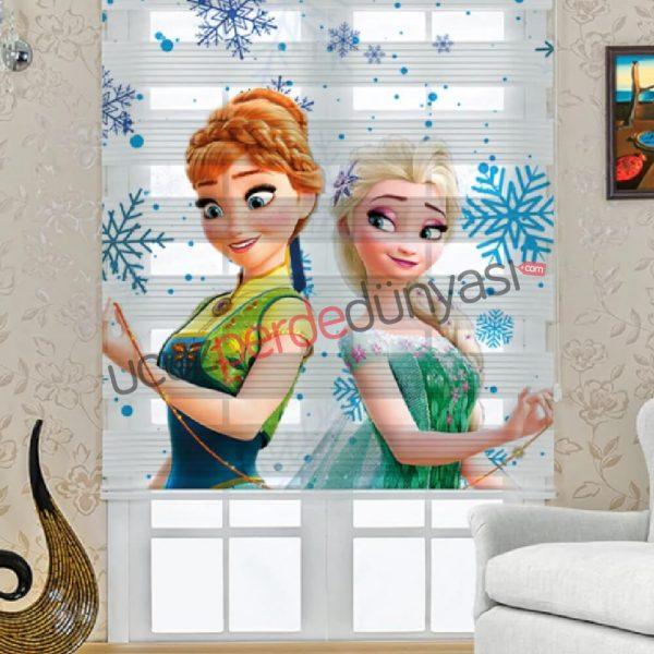 Frozen ve Kraliçe Elsa Baskılı Çocuk Stor Zebra Perde