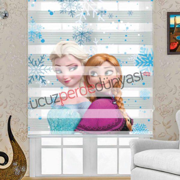 Elsa Frozen Baskılı Çocuk Zebra Perde