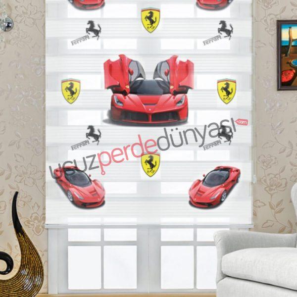 Ferrari Logolu Araba Baskılı Çocuk Stor Zebra Perde
