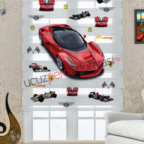 Ferrari Arabalar Baskılı Çocuk Stor Zebra Perde
