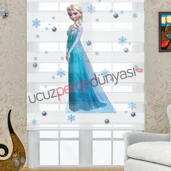 Elsa Frozen Baskılı Çocuk Odası Zebra Perde