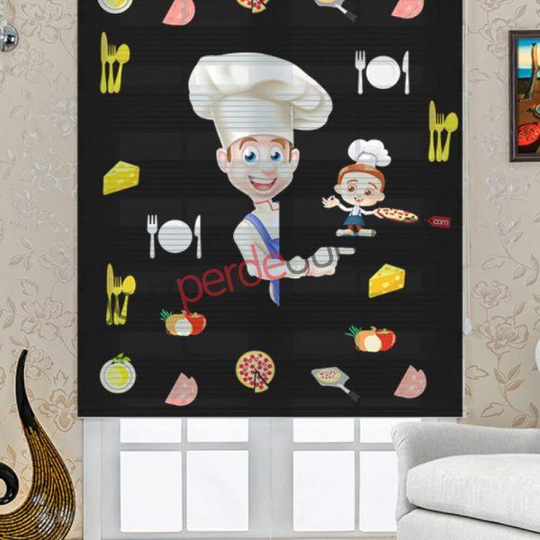 Aşçı Baskılı Mutfak Stor Zebra Perde