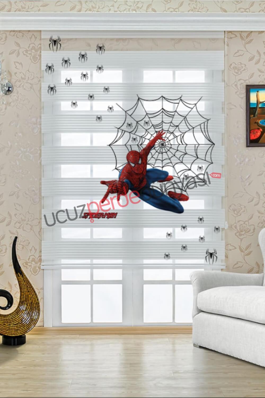 Örümcek Adam Baskılı Çocuk Odası Stor Zebra Perde