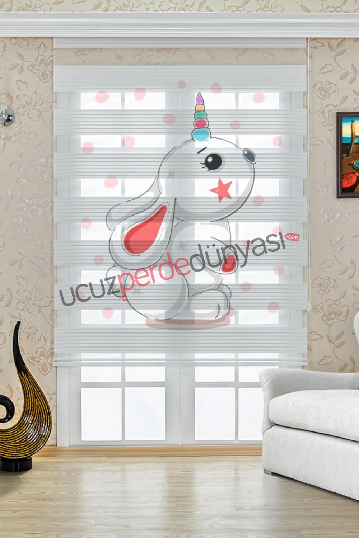 Renkli Boynuzlu Tavşan Baskılı Çocuk Odası Stor Zebra Perde