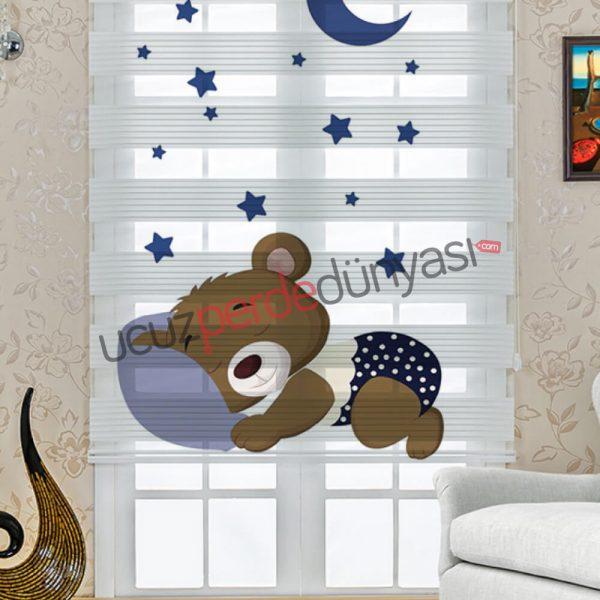 Uyuyan Küçük Ayı Çocuk Odası Stor Zebra Perde