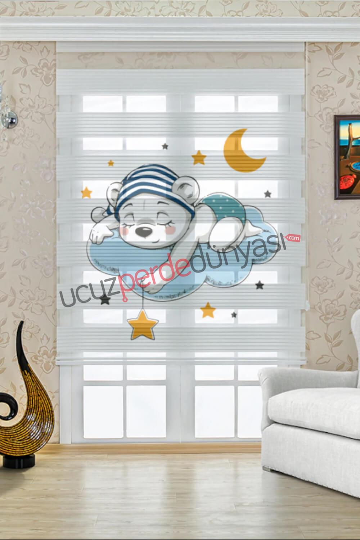 Düşler Dünyasındaki Ayı Çocuk Odası Stor Zebra Perde