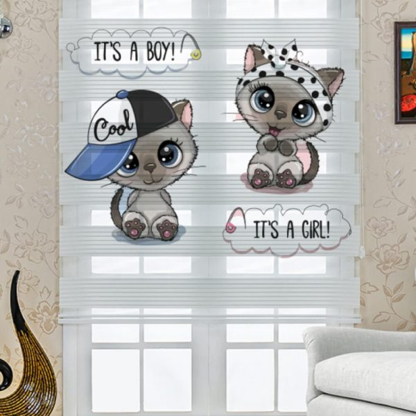 Tatlı Kediler Baskılı Çocuk Odası Stor Zebra Perde
