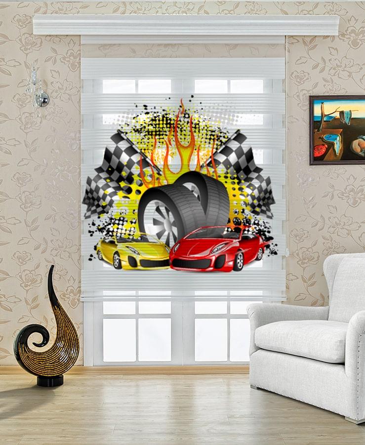 Hotwheels Arabalar Baskılı Çocuk Stor Zebra Perde