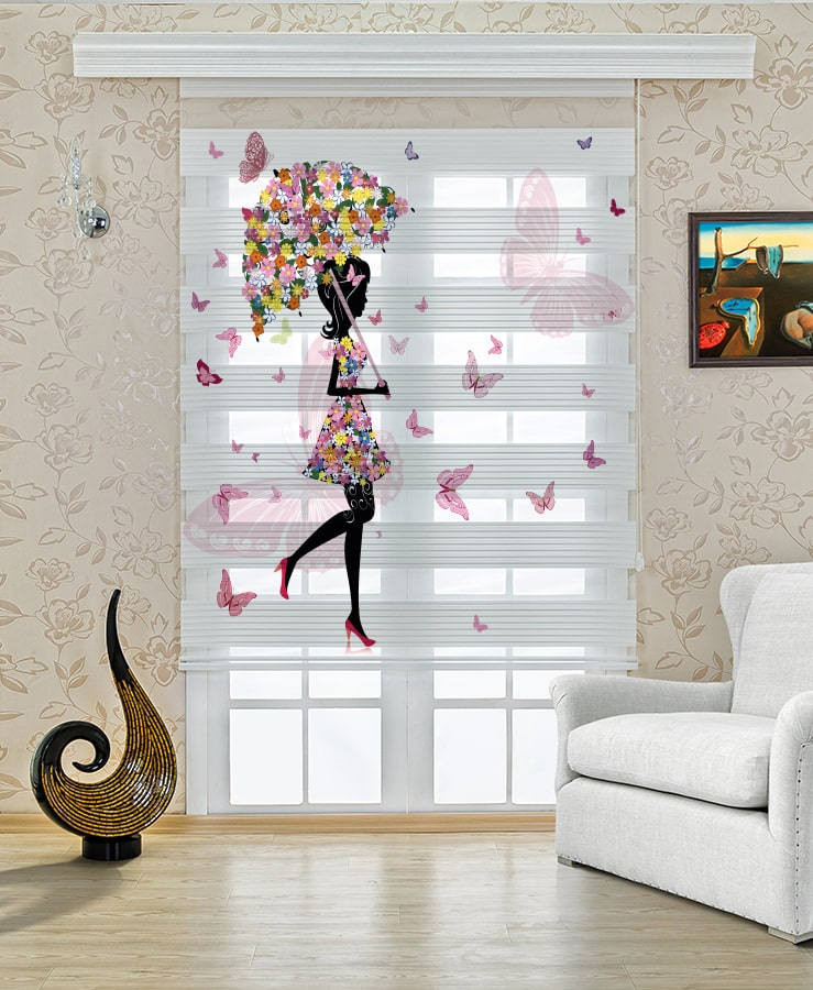 Çocuk Odası Kelebek Şemsiyeli Kadın Zebra Perde