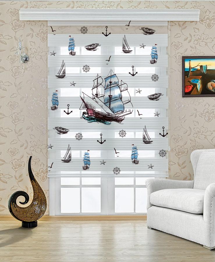 Gemi Baskılı Çocuk Stor Zebra Perde
