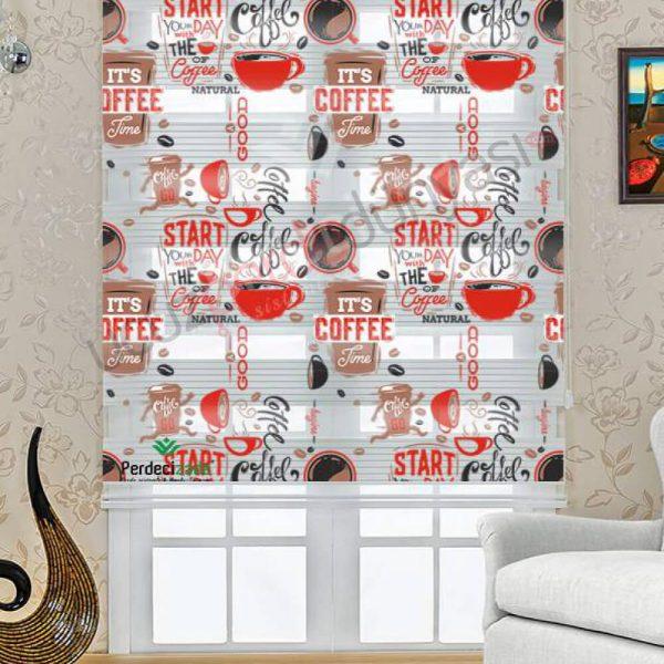 Coffe Desenli Mutfak Stor Zebra Perde
