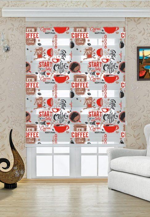 Coffe Desenli Mutfak Stor Zebra Perde Modeli