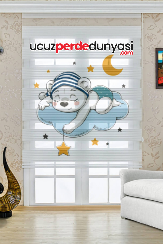 Düşler Dünyası Ayıcık Baskılı Çocuk Odası Zebra Perde
