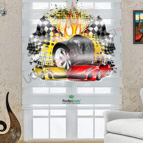 araba desenli baskılı stor zebra perde