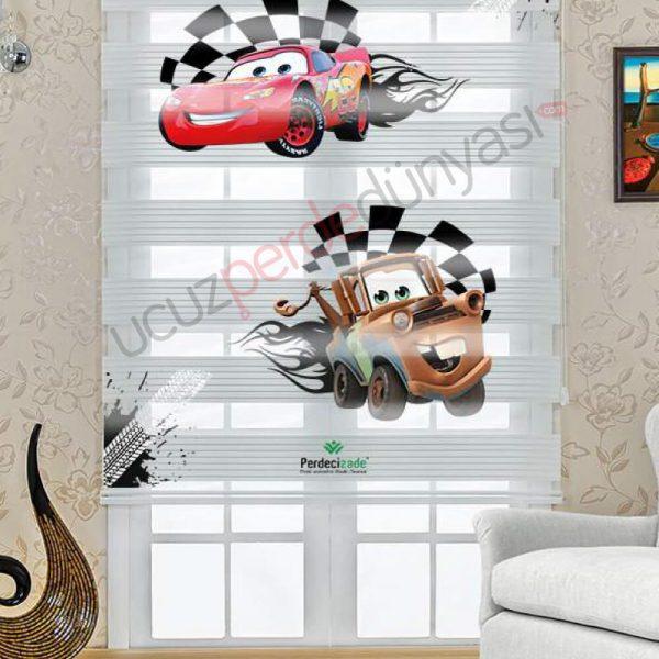 Arabalar Şimşek Mcqueen Baskılı Çocuk Stor Zebra Perde