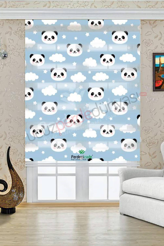 Panda Desenli Çocuk Stor Zebra Perde