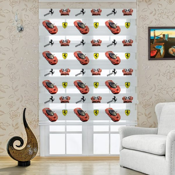 Çocuk Odası Ferrari Arabalar Baskılı Stor Zebra Perde