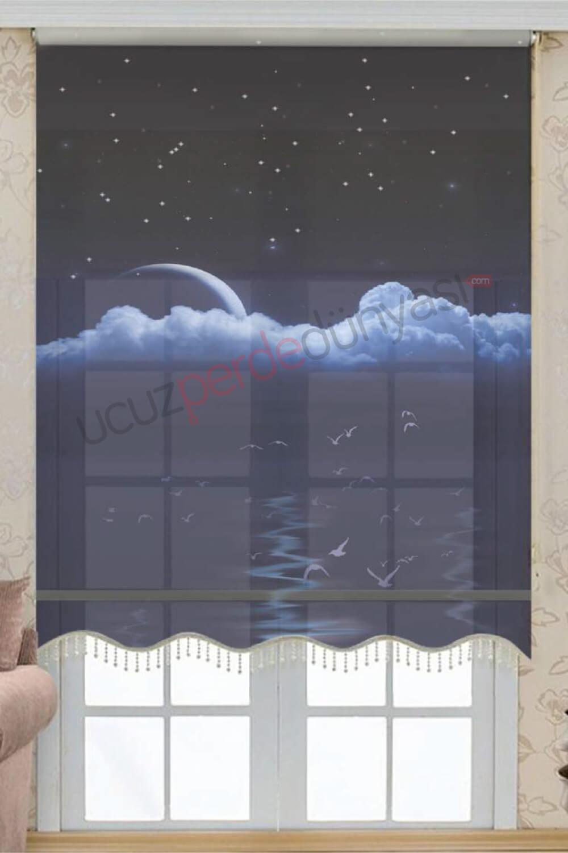 Gece Manzara Desenli Çiftli Mekanizmalı Stor Perde