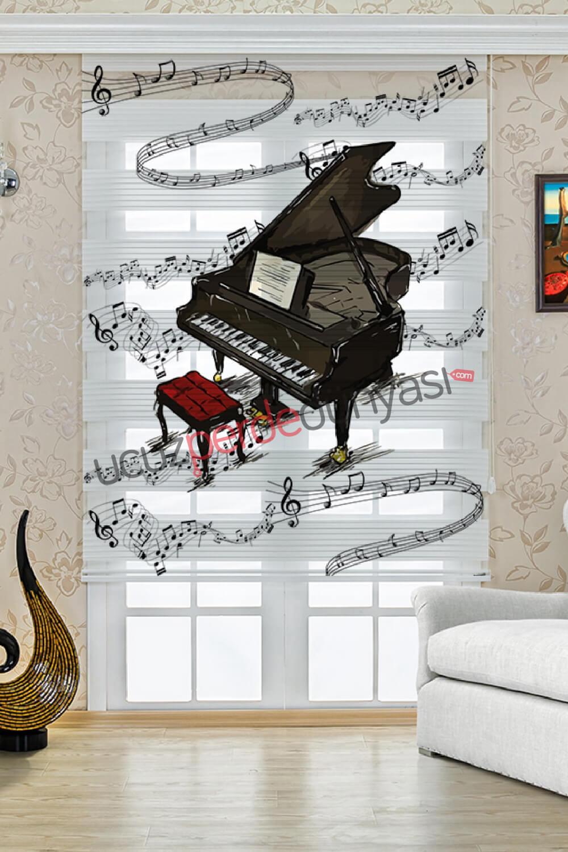 Melodi ve Piyano Baskılı Stor Zebra Perde