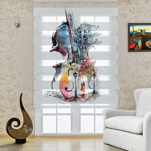 Genç Odası Zebra Perde Sanatsal Keman