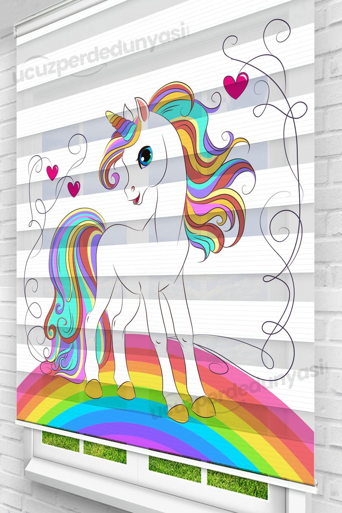 Rainbow Unicorn Baskılı Çocuk Stor Zebra Perde
