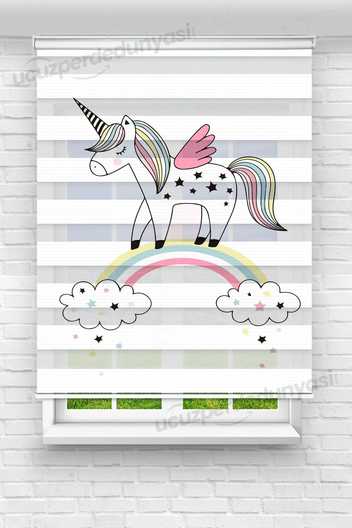 Kanatlı Unicorn Baskılı Çocuk Odası Stor Zebra Perde