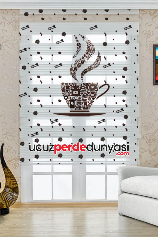 Kahve Sefası Baskılı Mutfak Zebra Perde
