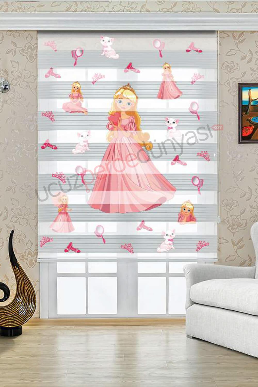 Pembe Prenses Baskılı Çocuk Odası Zebra Perde