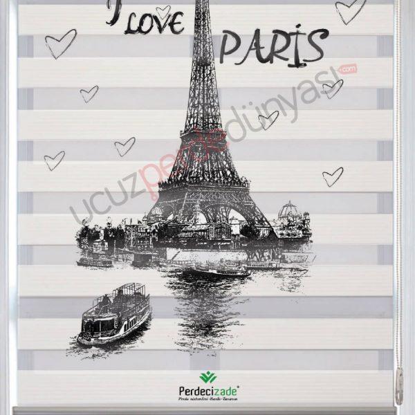 I Love Paris Baskılı Stor Zebra Perde