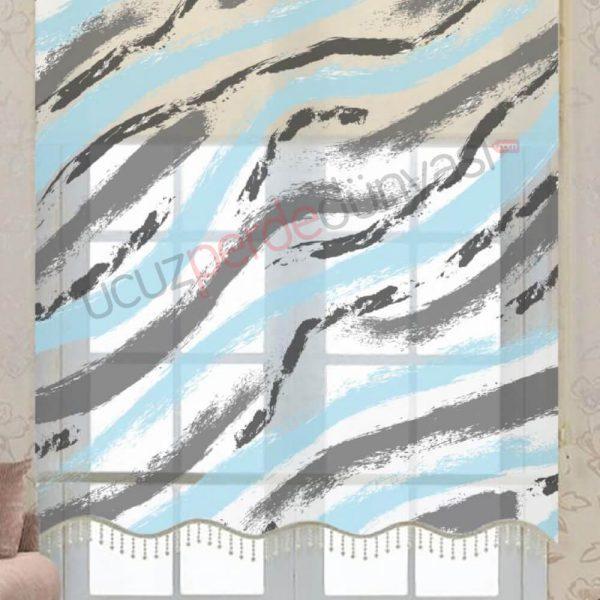 Açık Mavi - Gri Fırça Çiftli Mekanizmalı Stor Perde