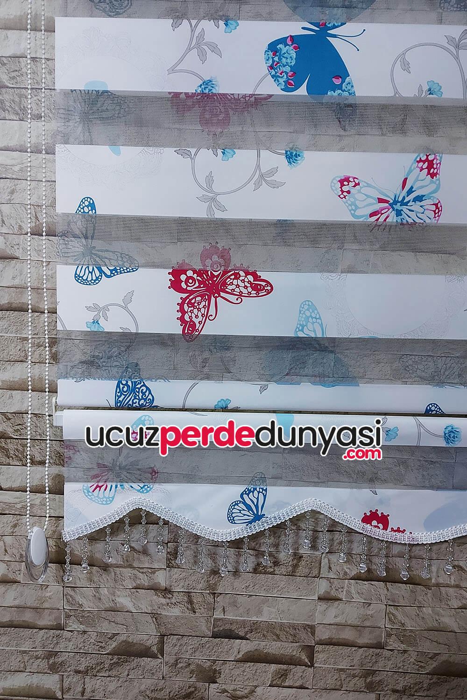 Mavi Fuşya Renkli Kelebek Çiçek Baskılı Zebra Perde