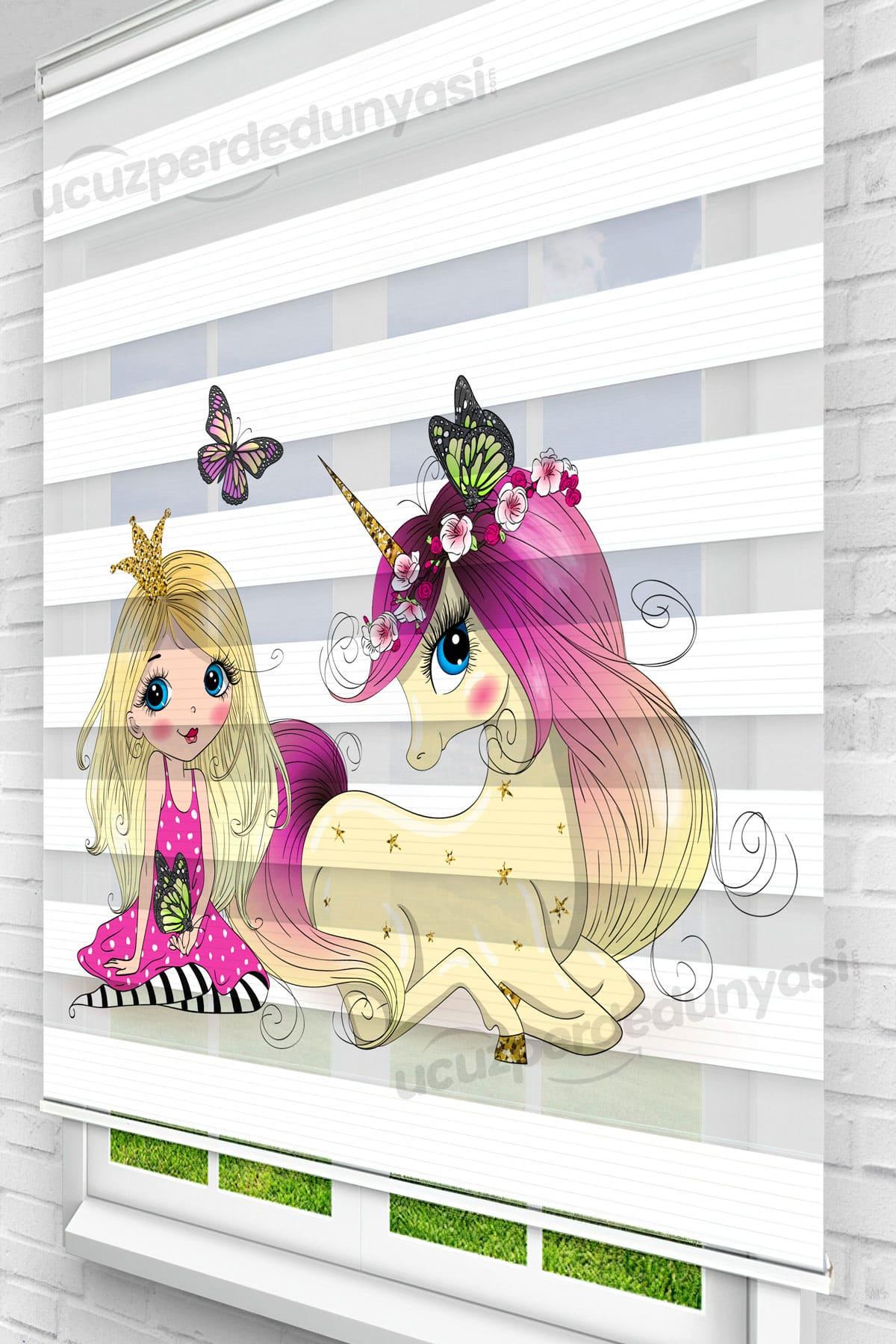 Prenses ve Unicorn Baskılı Çocuk Stor Zebra Perde