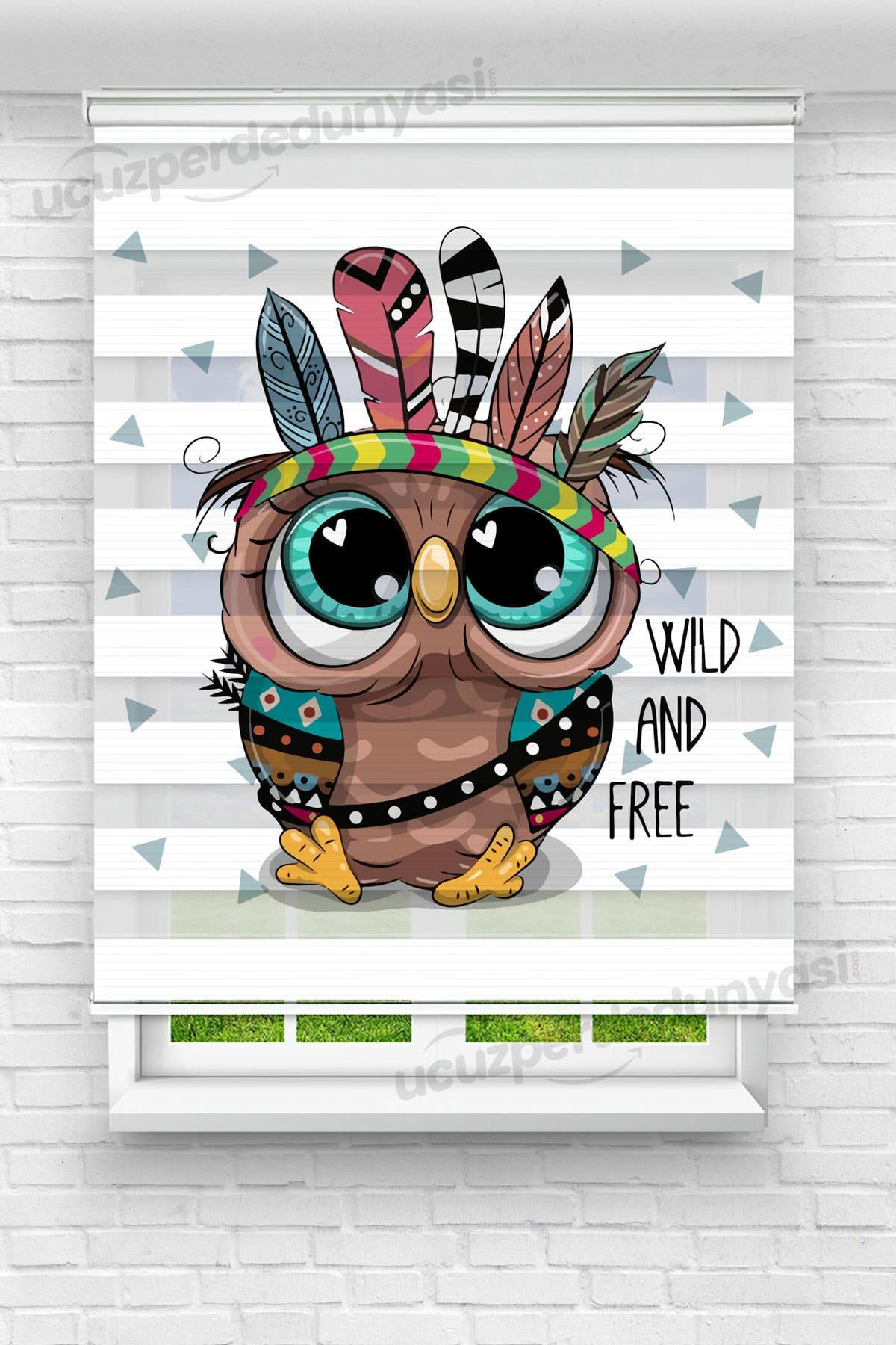 Tatlı Kızılderili Baykuş Baskılı Çocuk Odası Zebra Perde