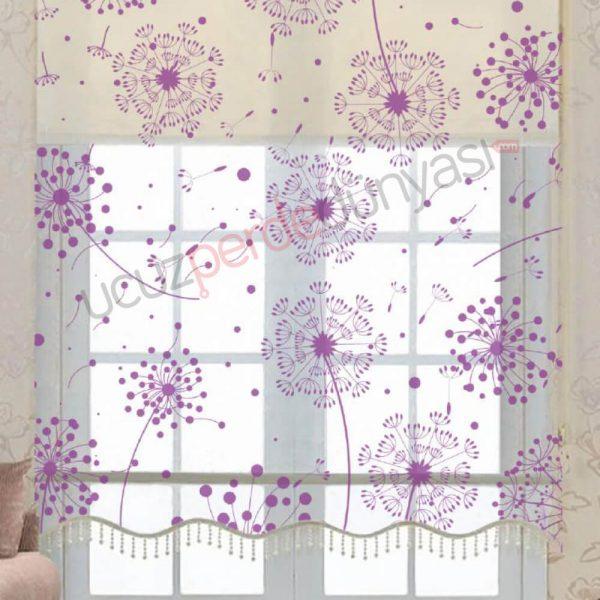 Karahindiba Çiçeği Çiftli Mekanizmalı Stor Perde