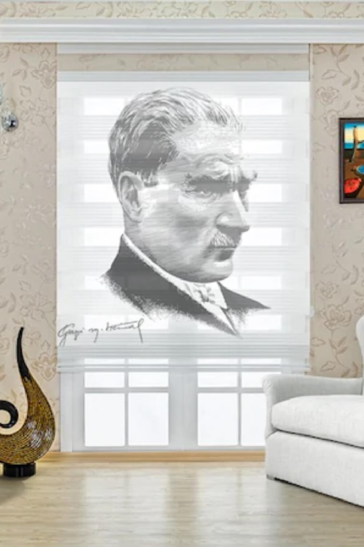 Mustafa Kemal ATATÜRK Baskılı Zebra Perde