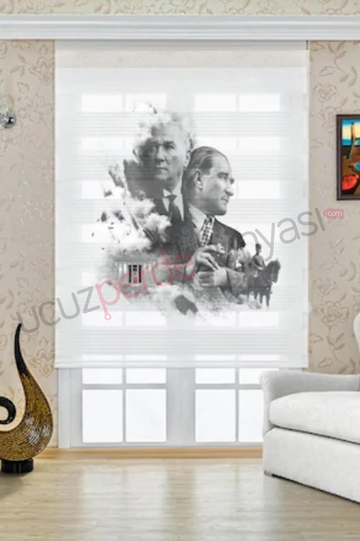 Mustafa Kemal ATATÜRK Baskılı Stor Zebra Perde