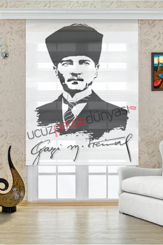 Gazi Mustafa Kemal Atatürk Baskılı Stor Zebra Perde