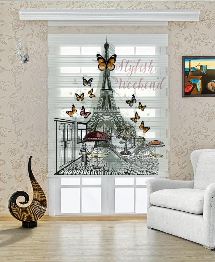 Paris ve Kelebekler Baskılı Mutfak Salon Stor Zebra Perde