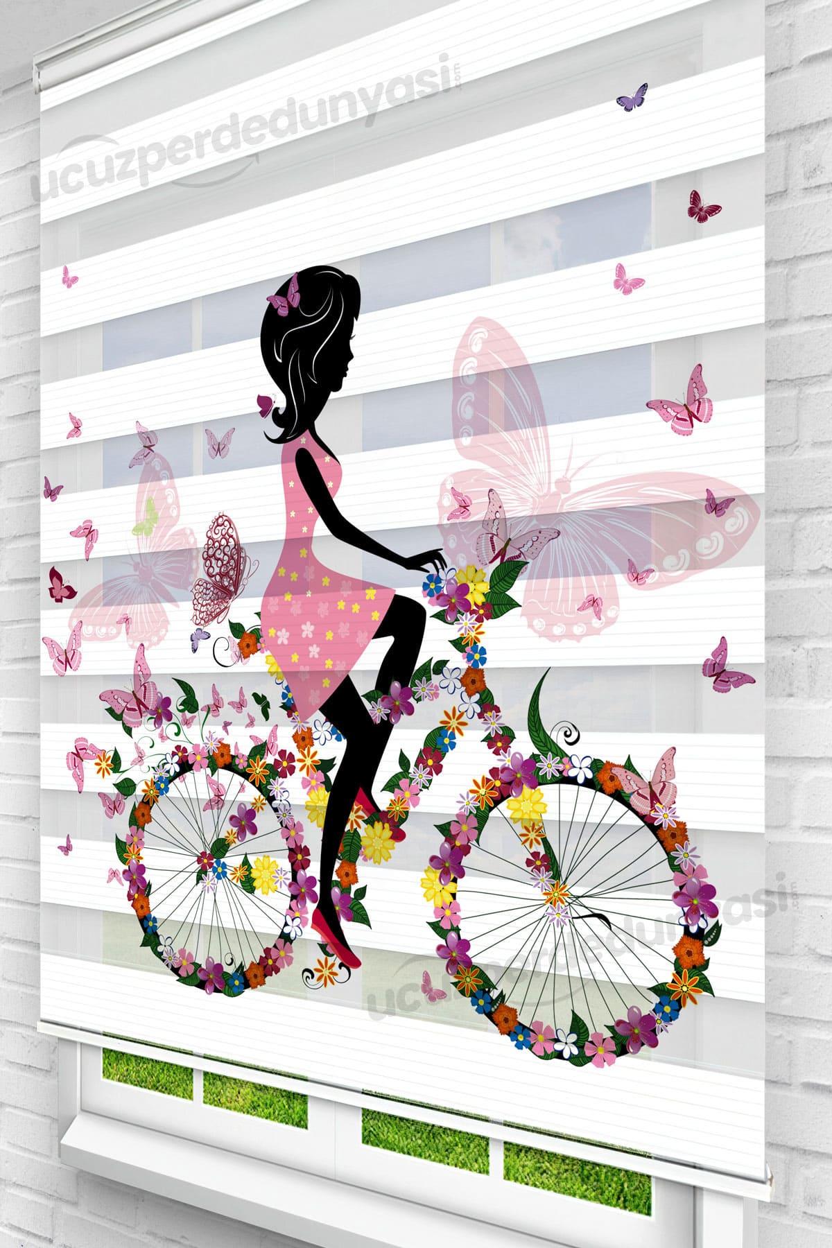 Kelebek Bisikletli Kız Stor Zebra Perde