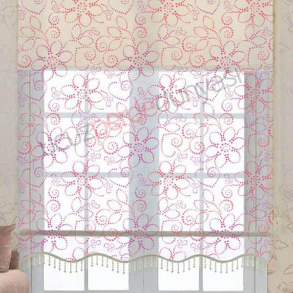 Geometrik Çiçek Desenli Çiftli Mekanizmalı Stor Perde
