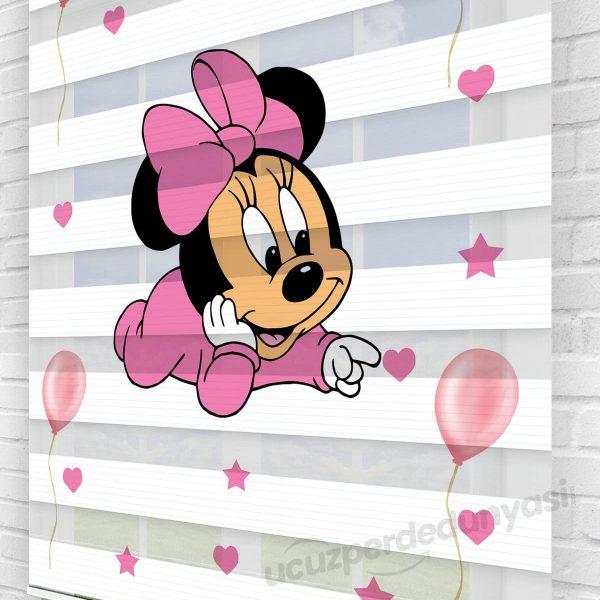 Bebek Minnie Mouse Baskılı Çocuk Odası Zebra Perde