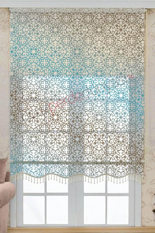 renk geçişli damask desenli çift mekanizmalı stor perde fiyatları