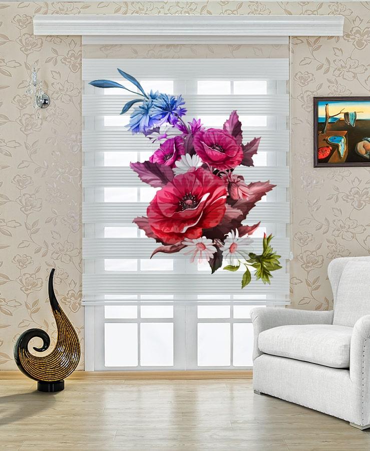 Renkli Çiçek Baskılı Stor Zebra Perde