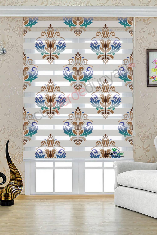 Mavi - Kahve Renkli Damask Desenli Stor Zebra Perde
